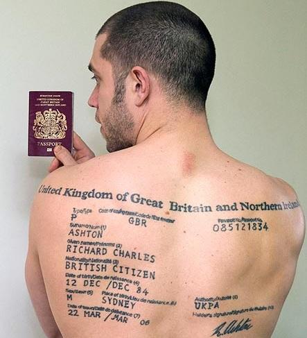 Richard Ashton Never Forgets His Passport Has It Tattooed