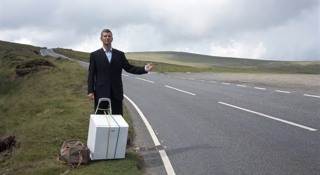 One man, his thumb and a fridge on a mission to go hitchhiking around Ireland with a fridge