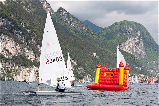 Sailing a bouncy castle across lake Garda