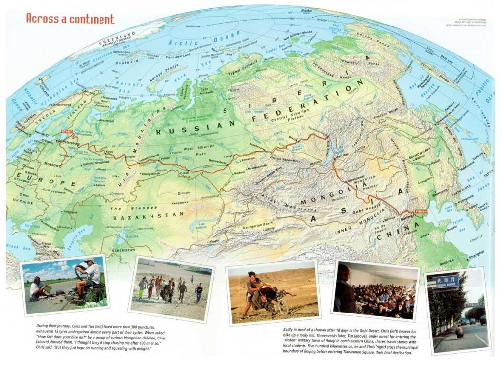 Map Moscow to Beijing recumbent