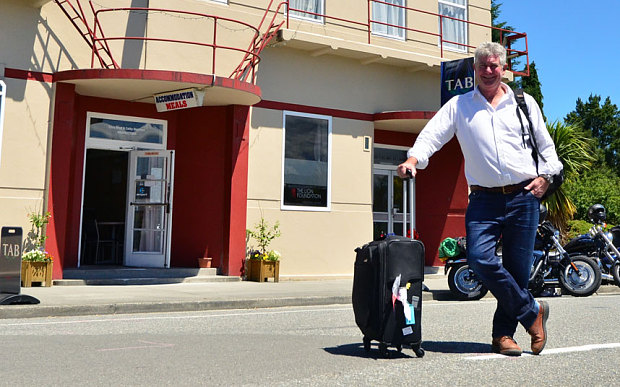 John Bougen with his standard carry on luggage trolly - All Nations Quest