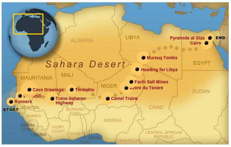 route map running Sahara