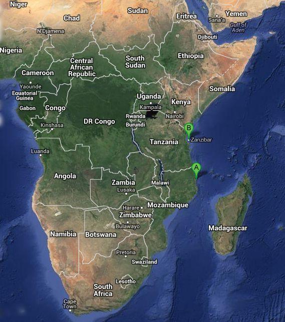 point A = Pemba point B = Zanzibar
