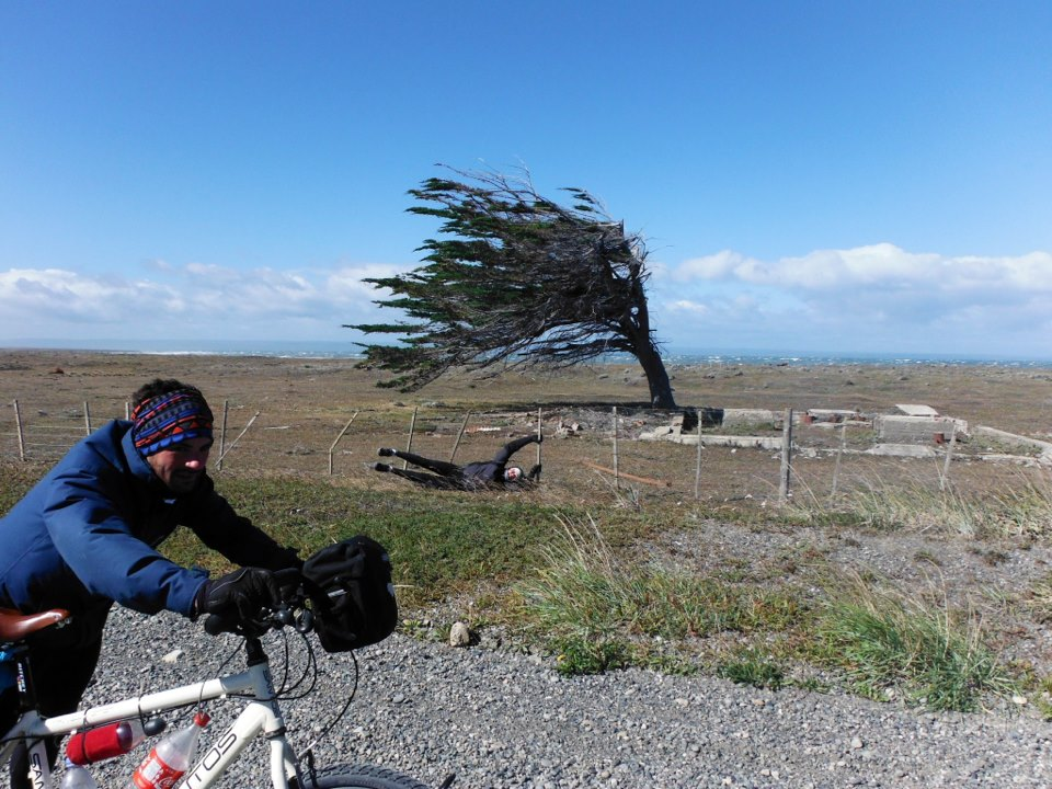 90 Kmh winds in Patagonia. Can't walk, let alone cycle