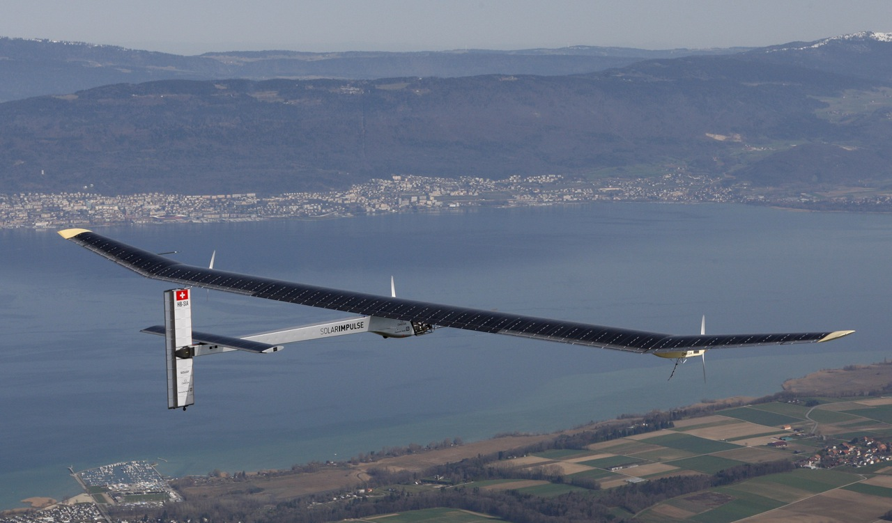 Solar Impulse HB-SIA prototype airplane attends his first flight over Payerne