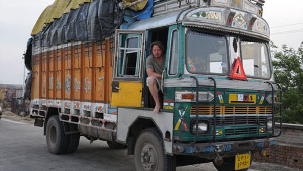 Charley Boorman in a TATA truck in India during his By Any Means travel mission