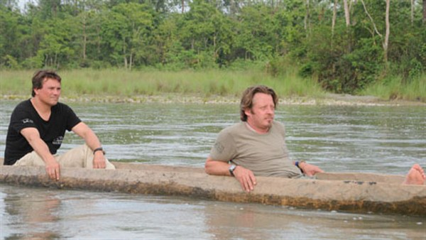 By Any Means: Host Charley Boorman in a dugout canoe on his way to Chitwan National Park