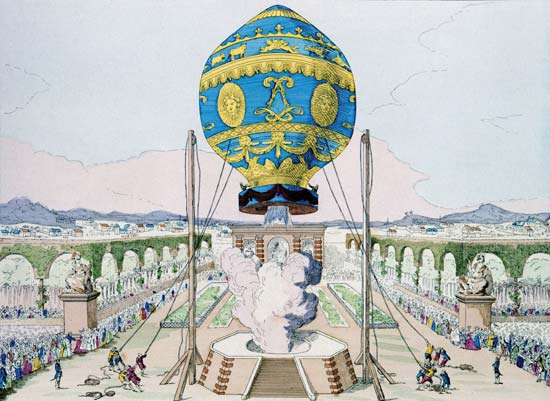 Montgolfier brothers balloon demonstration
