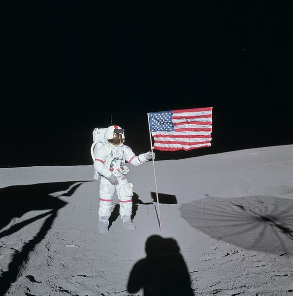 Shepard on the Moon just after landing