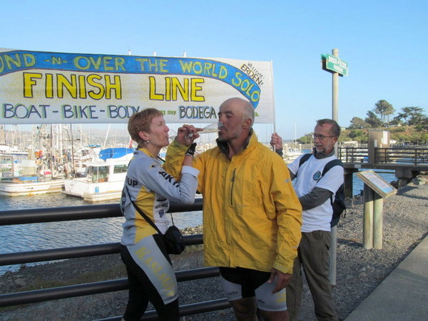 At the finish line in Bodega Bay with his wife Nancy
