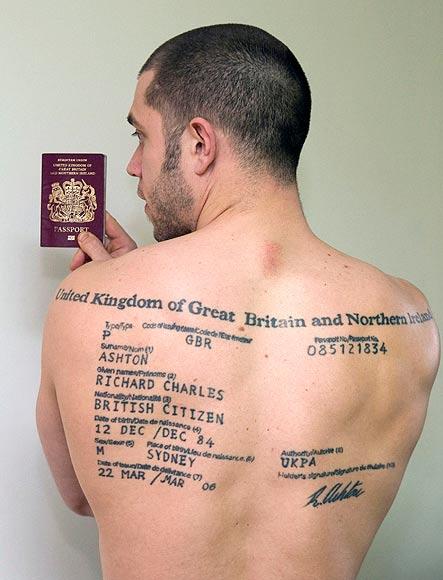 Richard Ashton back tattoo Passport