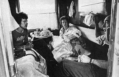 Bowie in his compartment