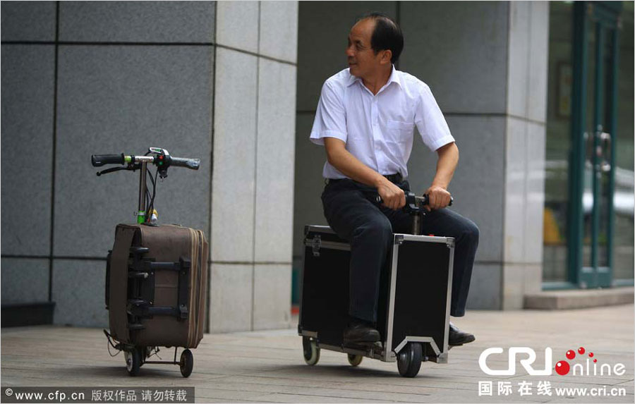 Two versions of the amazing drivable suitcase scooter