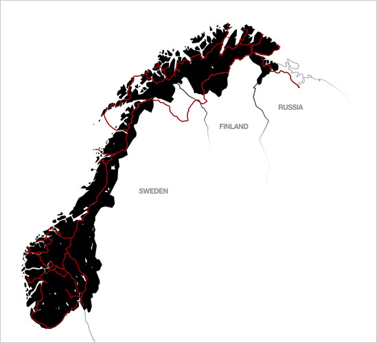 The route map of the 10,000 Miles around Norway to create an Epic 5-minute Motion Time-Lapse Video