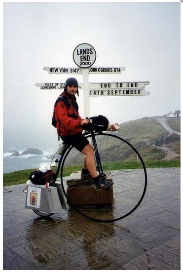 Joff Summerfield on a penny farthing from Lands end to John o'groats