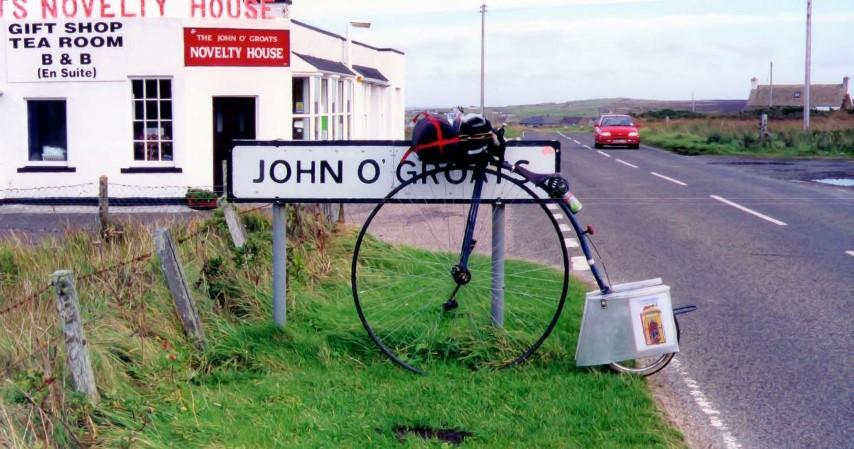 On a Penny Farthing from Lands end to John O'Groats