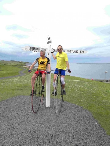 The Old cranks on a penny farthing from Lands End to John O'Groats