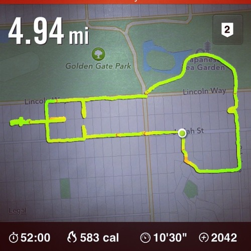 today's run was hard. ran at golden gate park