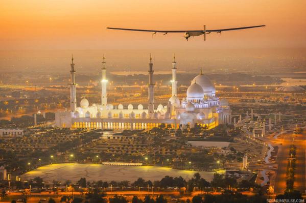 Solar impulse, the solar plane hoovering in the air