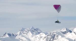 paragliding a snowmobile