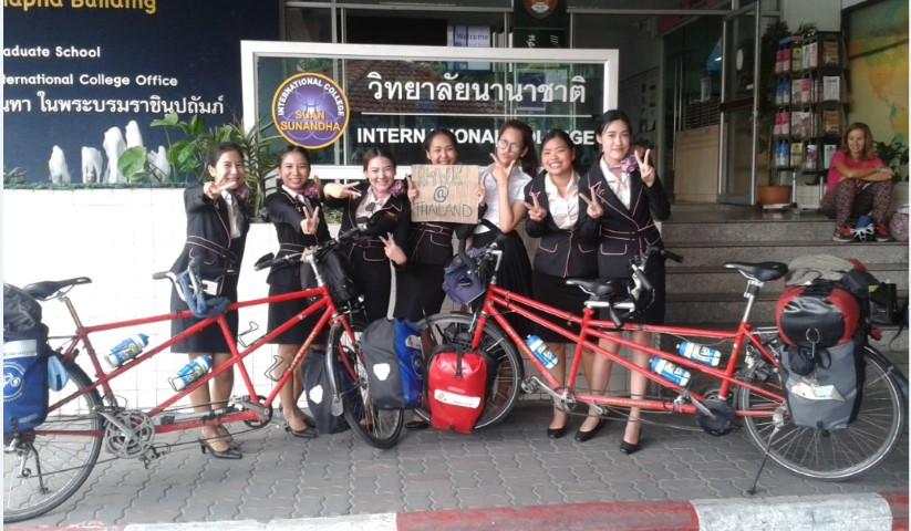 The 2 tandem bicycles of the girls of 'Ride for Women Rights'
