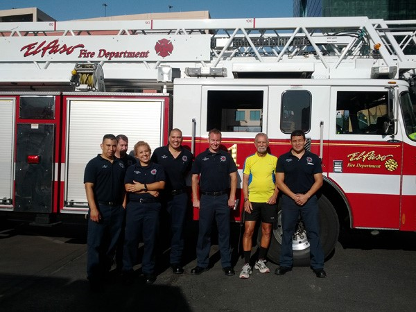 Hermelin with the El Capo fire department that would host him for the night
