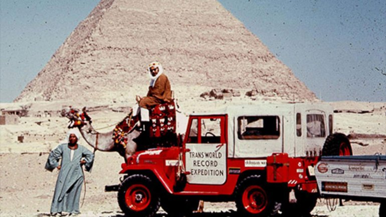 Albert Podell on his Transwordl record expedition which broke the world record for longest continuous auto journey