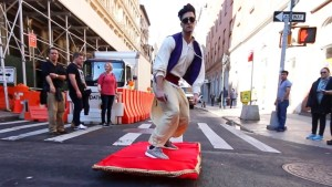 Aladdin on his Magic Carpet in New York