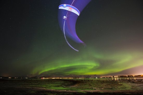 paragliding-in-the-aurora-borealis-in-tromso-norway 2