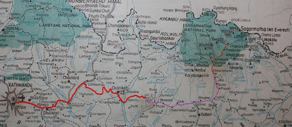Chocolate Sherpa Route Map from Kathmandu to Everest Base Camp