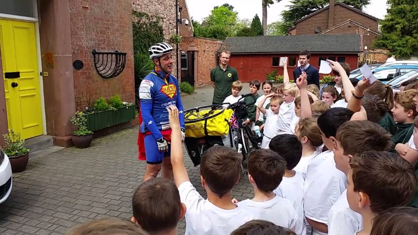 Supercyclingman - visiting Firs school in Chester (Small)