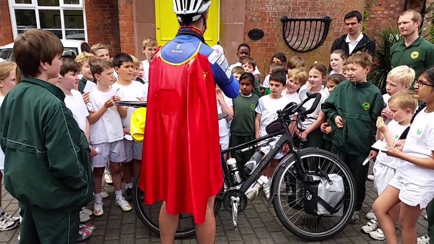 Supercyclingman - visiting school (Small)
