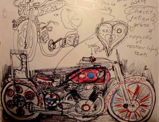 Grayson Perry's pink motorbike design sketch