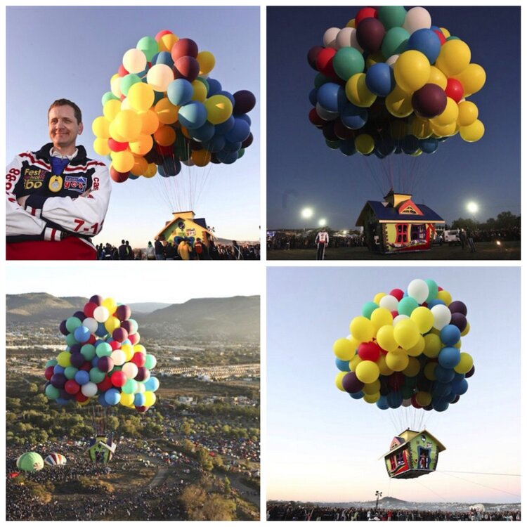 Jonathan Trappe's flies a house with a set of oridnary cluster balloons. Is your trip equally kickass?!