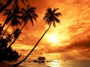 Sunset in adventurous Indonesia