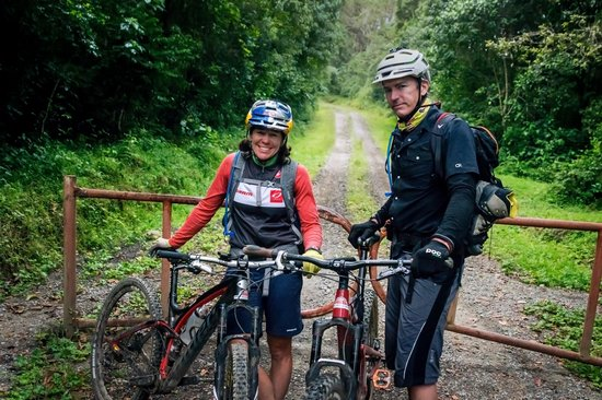Rebecca Rusch and Patrick Sweeny at their mountainbiking Mount Kilimanjaro expedition