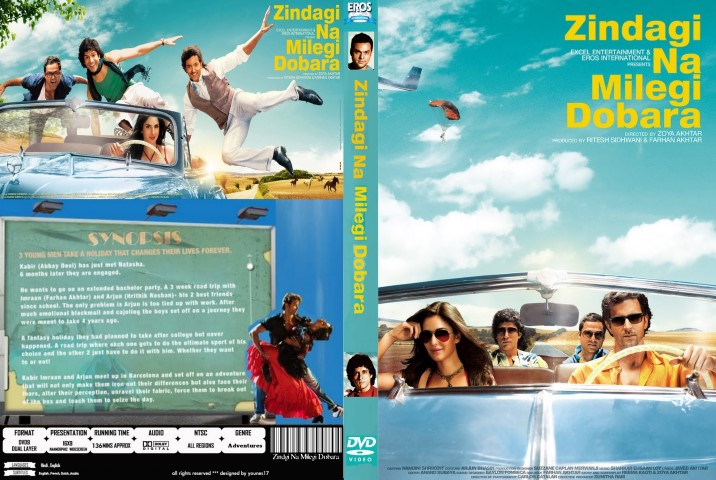 DVD cover of Bollywood roadtrip travel adventure movie Zindagi Na Milegi Dobara