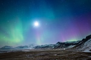 Full Moon and Northern Light in Iceland