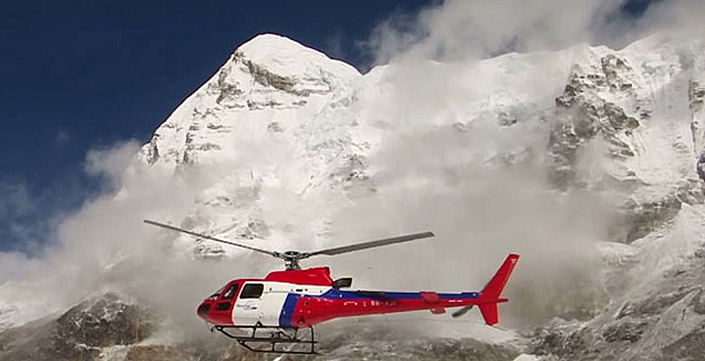 landing helicopter on the top of Mount Everest
