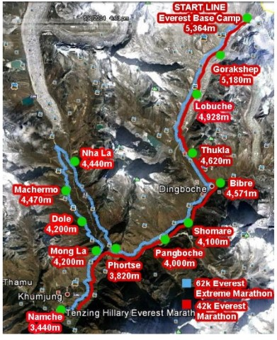 Everest Marathon route map